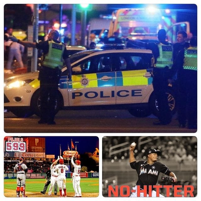 Weekend Recap! London gets attacked/Pujols hits 600th HR/Volquez throws No Hitter