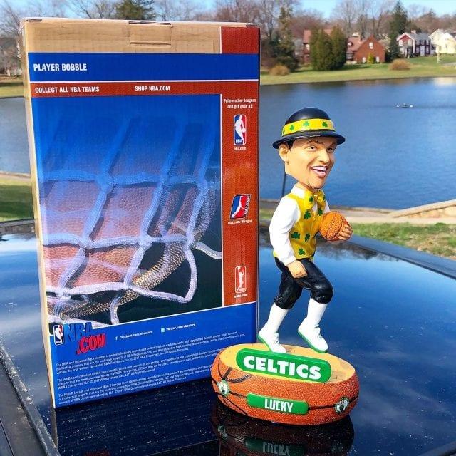"""Bobble of the Day Boston Celtics """"Lucky"""" Mascot Baller Bobblehead"""