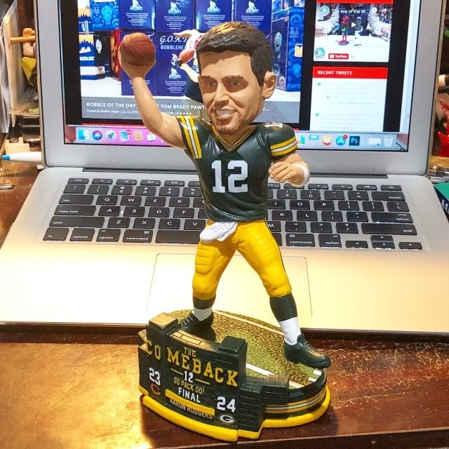 "Bobble of the Day ""Aaron Rodgers"" Green Bay Packers ""Comeback Win"" Bobblehead"