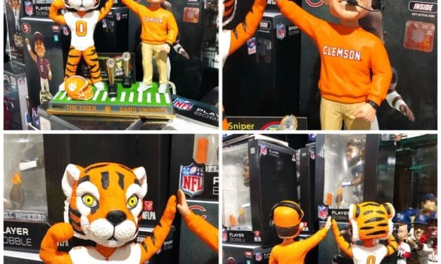 "Bobble of the Day ""Dabo Swinney Clemson Tiger"" Duel Mascot Championship Bobblehead"