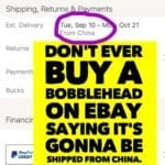 Why you should never buy a bobblehead off of Ebay showing it's being shipped from China