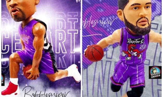 """Foco Announces Two """"Throwback Jersey"""" Exclusive Toronto Raptors Bobbleheads"""