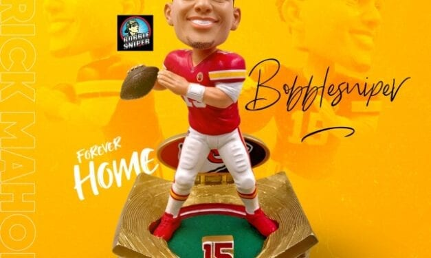 """Mahomes find his """"Forever Home"""" with an Exclusive All-Gold Bobblehead"""