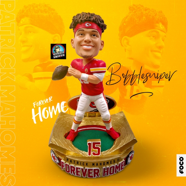 "Mahomes find his ""Forever Home"" with an Exclusive All-Gold Bobblehead"