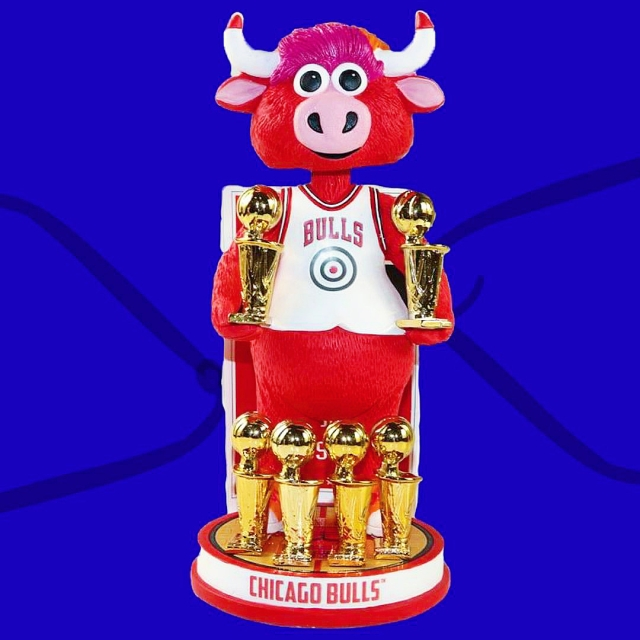 Benny the Bull Celebrates with 6 Championship Rings On His Very Bobblehead