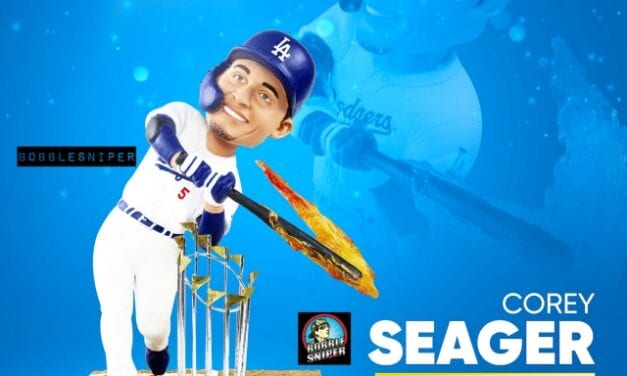 """FOCO Sizzles With A Corey Seager """"Hot Bat"""" World Series Bobblehead"""